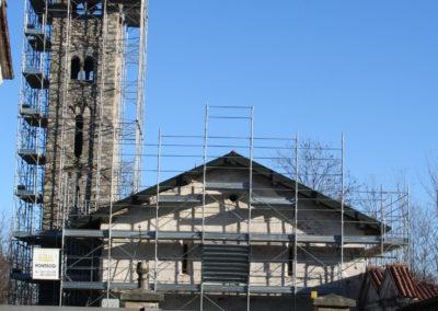 ponteggio campanile e chiesa Paruzzaro San Marcello